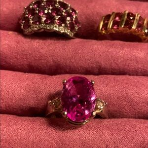 💞Pink Topaz Sterling Ring w/Sapphire Side Stones